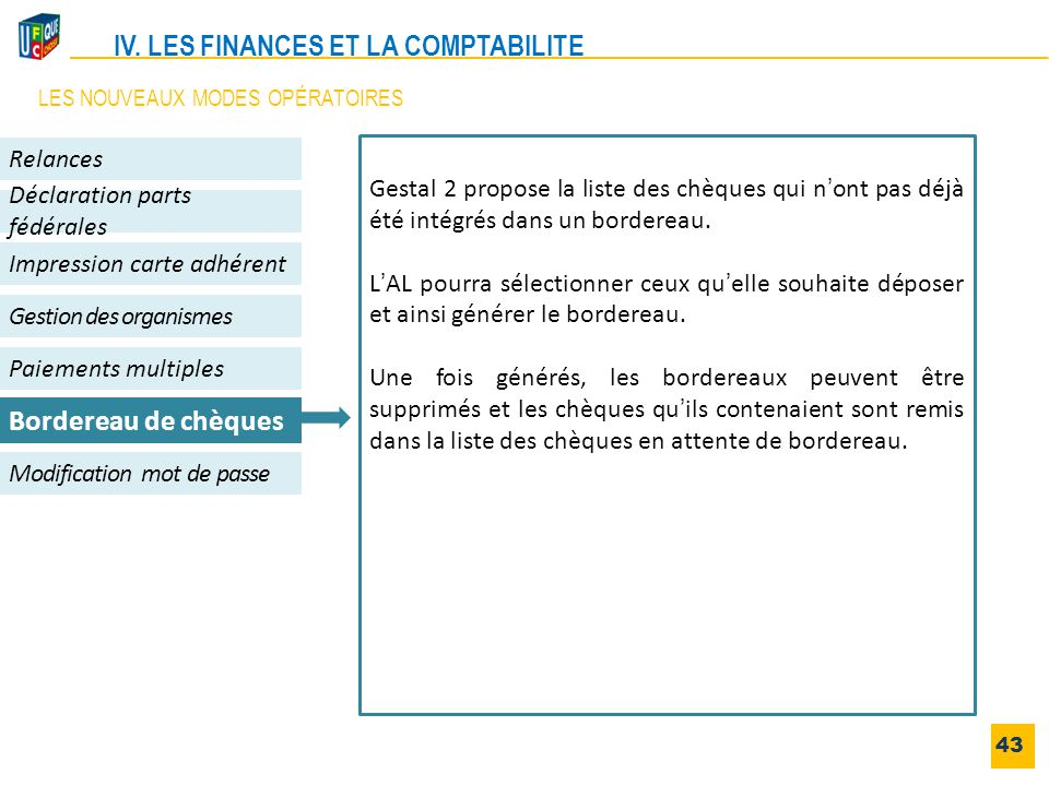 43 Impression carte adhérent Gestion des organismes Relances Déclaration parts fédérales Modification mot de passe Paiements multiples Bordereau de ch