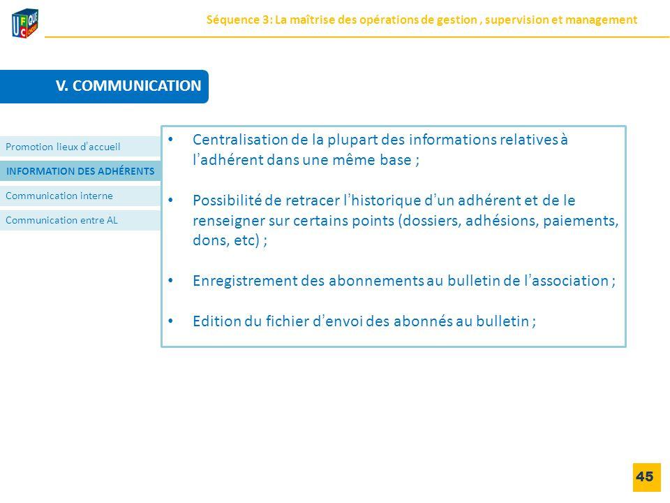 INFORMATION DES ADHÉRENTS Communication interne Communication entre AL 45 Promotion lieux d'accueil Centralisation de la plupart des informations rela