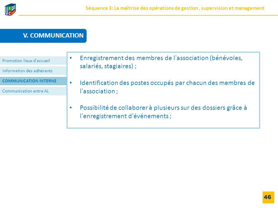 Information des adhérents COMMUNICATION INTERNE Communication entre AL 46 Promotion lieux d'accueil Enregistrement des membres de l'association (bénév