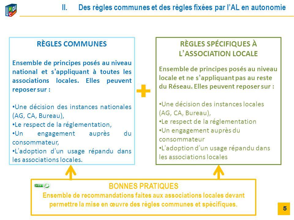 RÈGLES COMMUNES Ensemble de principes posés au niveau national et s'appliquant à toutes les associations locales. Elles peuvent reposer sur : Une déci