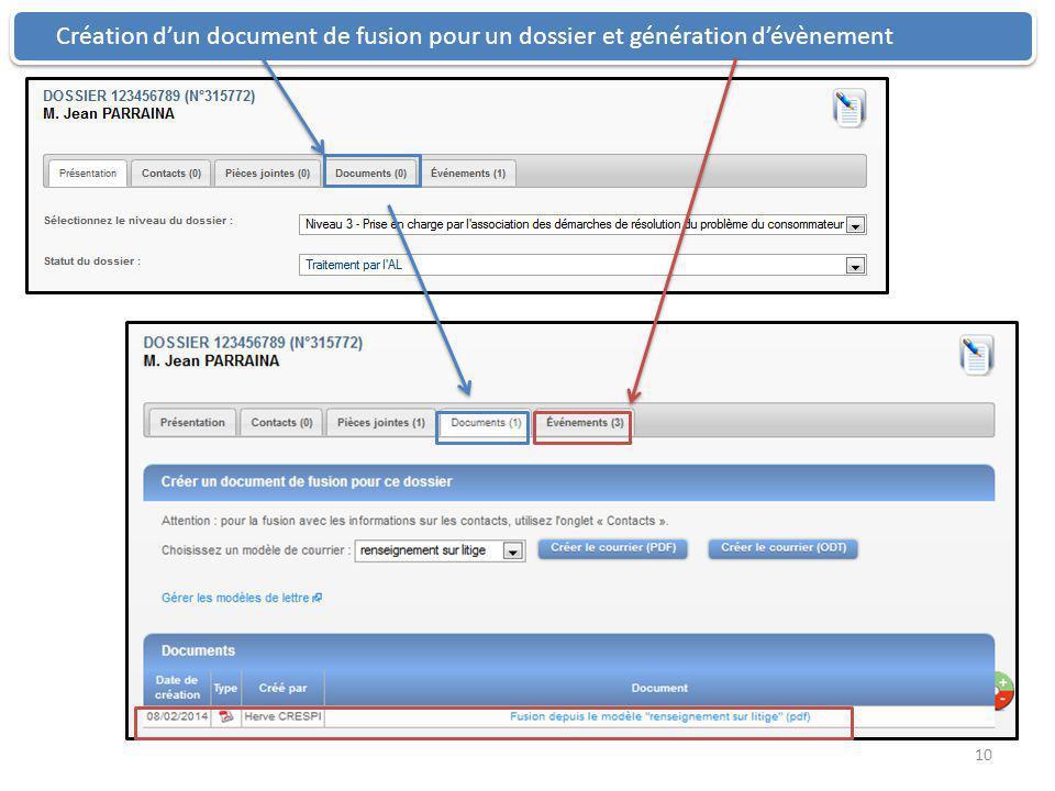 Création d'un document de fusion pour un dossier et génération d'évènement 10