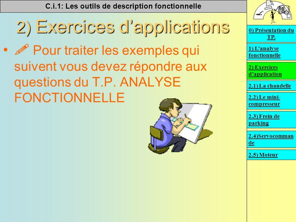 C.i.1: Les outils de description fonctionnelle   2) Exercices d'applications  Pour traiter les exemples qui suivent vous devez répondre aux questions du T.P.