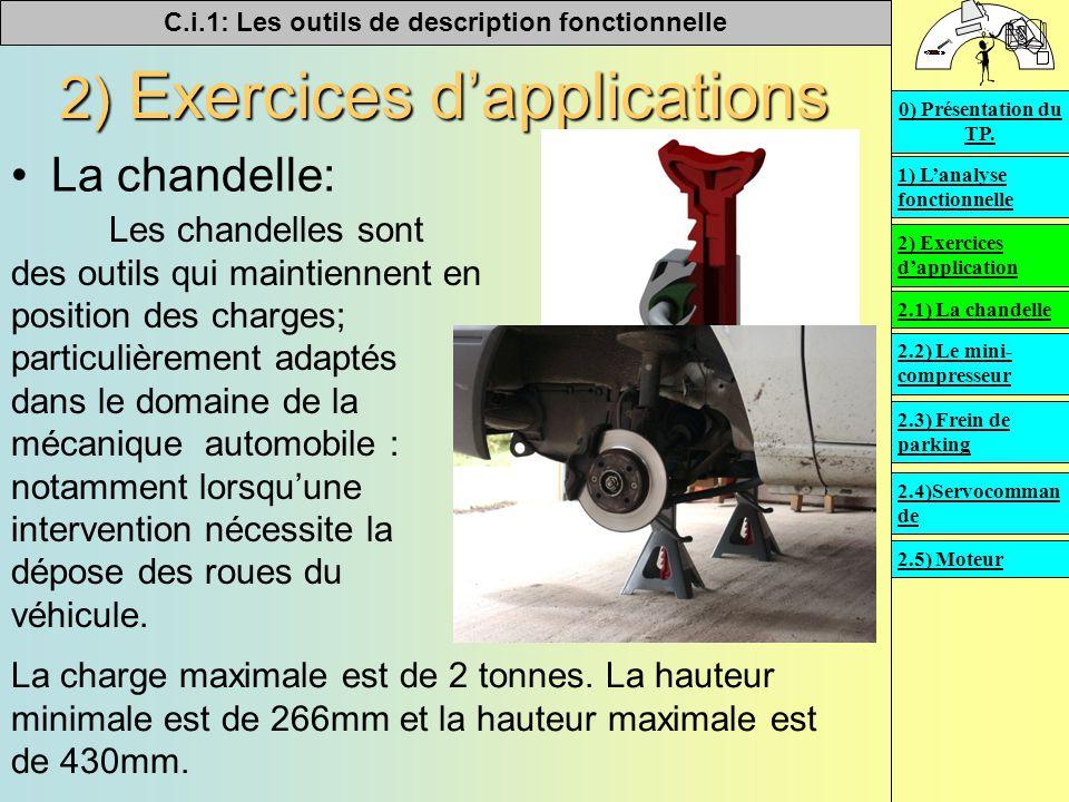 C.i.1: Les outils de description fonctionnelle   2) Exercices d'applications La chandelle: Les chandelles sont des outils qui maintiennent en positi