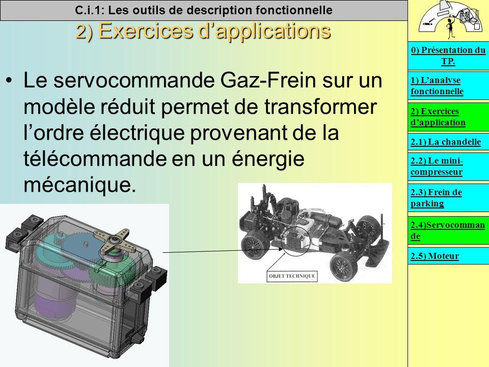 C.i.1: Les outils de description fonctionnelle   2) Exercices d'applications Le servocommande Gaz-Frein sur un modèle réduit permet de transformer l'ordre électrique provenant de la télécommande en un énergie mécanique.