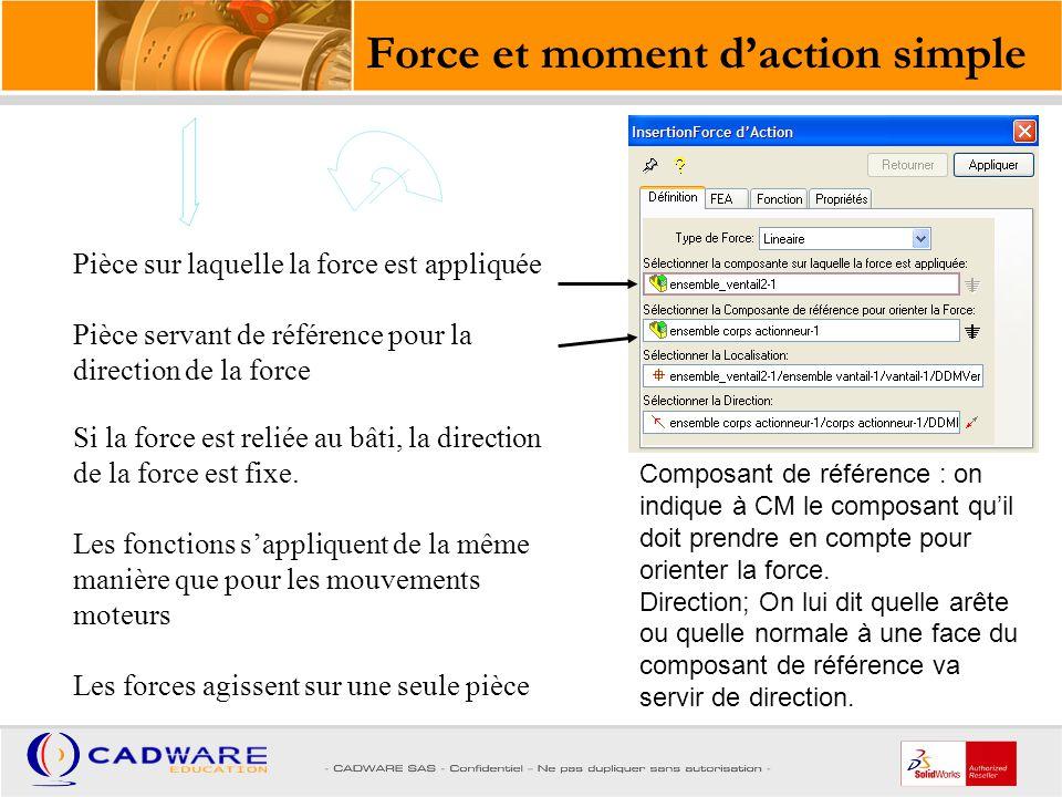 Première pièce Seconde pièce La direction de la force est la liaison des points des deux pièces Les fonctions s'appliquent de la même manière que pour les mouvements moteurs La valeur de la force est égale et de signe opposé sur les 2 pièces Force et moment d'action réaction