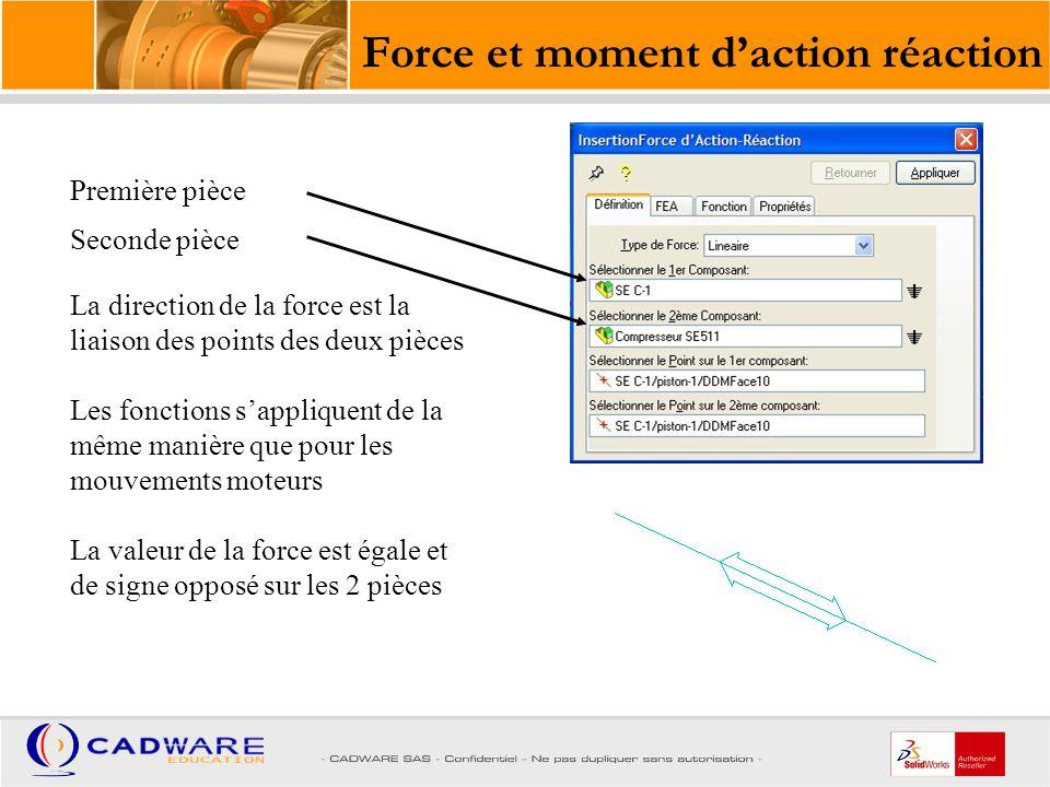 Force d'impact Les forces d impact sont utilisées pour simuler la collision entre deux pièces.