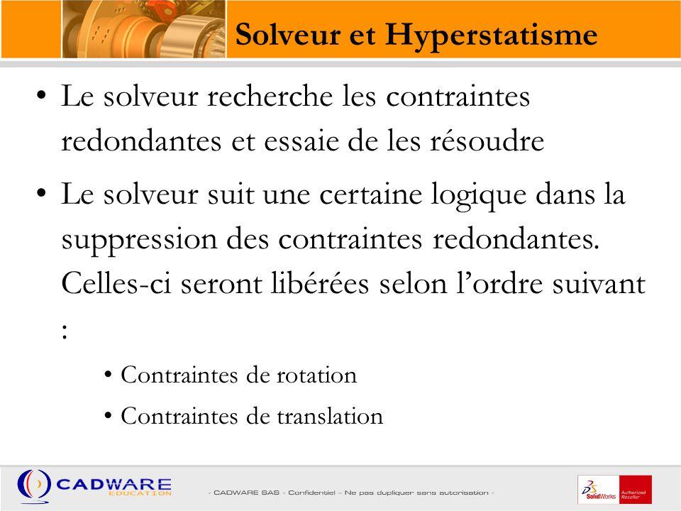 Solveur et Hyperstatisme Cela signifie que : Le solveur recherche les contraintes de rotation redondantes qu'il peut supprimer.