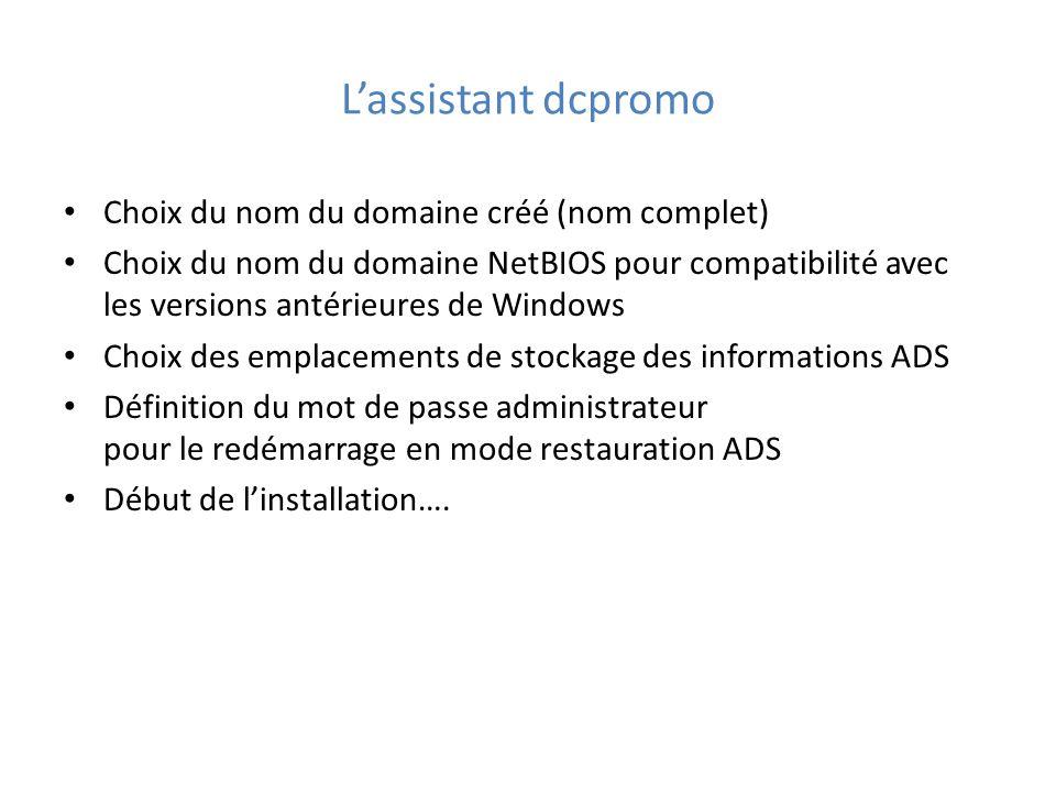 Choix du nom du domaine créé (nom complet) Choix du nom du domaine NetBIOS pour compatibilité avec les versions antérieures de Windows Choix des emplacements de stockage des informations ADS Définition du mot de passe administrateur pour le redémarrage en mode restauration ADS Début de l'installation….