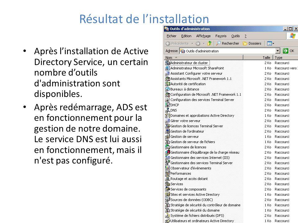 Résultat de l'installation Après l'installation de Active Directory Service, un certain nombre d'outils d administration sont disponibles.