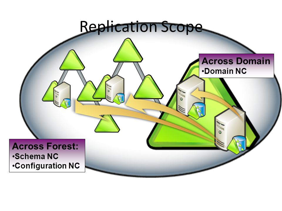 Replication Scope Across Forest: Schema NC Configuration NC Across Domain Domain NC