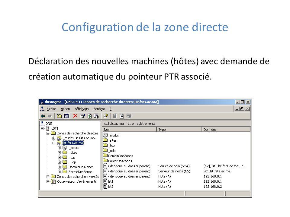 Configuration de la zone directe Déclaration des nouvelles machines (hôtes) avec demande de création automatique du pointeur PTR associé.