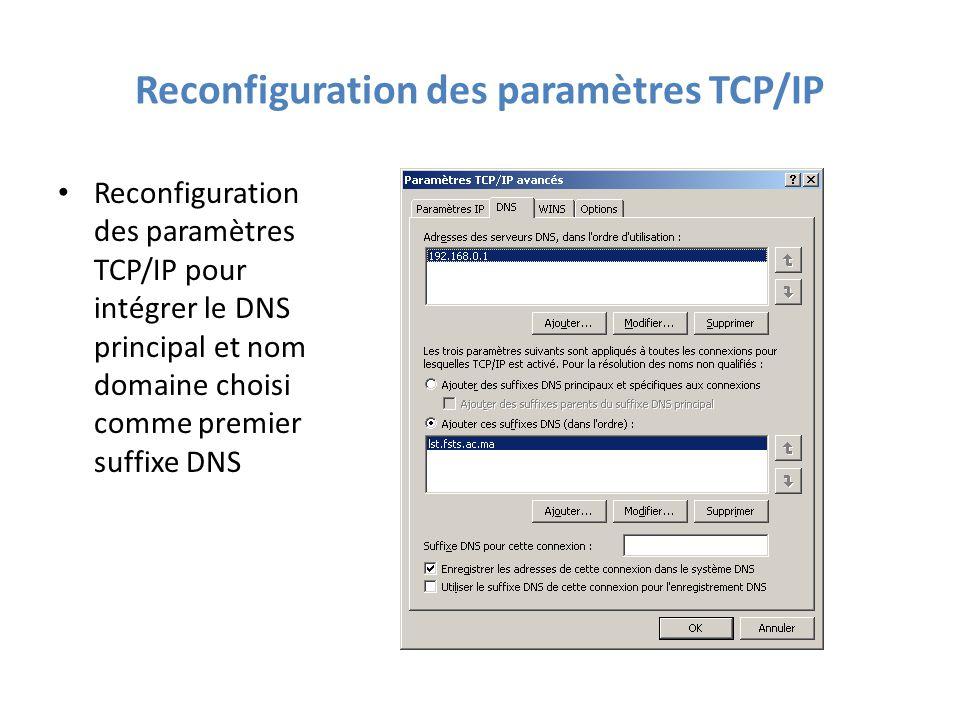 Reconfiguration des paramètres TCP/IP Reconfiguration des paramètres TCP/IP pour intégrer le DNS principal et nom domaine choisi comme premier suffixe DNS