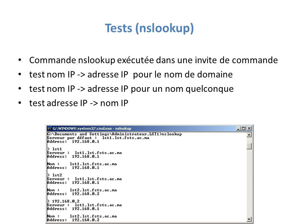 Tests (nslookup) Commande nslookup exécutée dans une invite de commande test nom IP -> adresse IP pour le nom de domaine test nom IP -> adresse IP pour un nom quelconque test adresse IP -> nom IP
