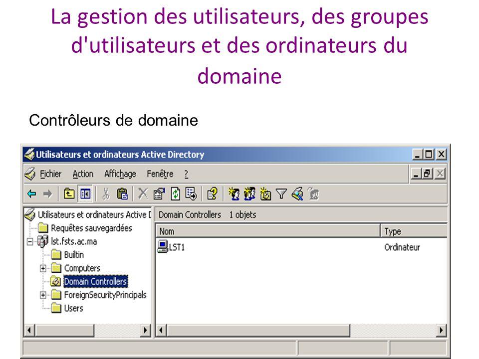 La gestion des utilisateurs, des groupes d utilisateurs et des ordinateurs du domaine Contrôleurs de domaine