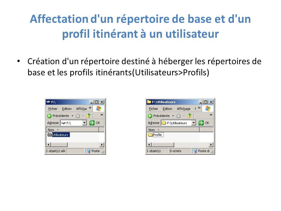 Affectation d un répertoire de base et d un profil itinérant à un utilisateur Création d un répertoire destiné à héberger les répertoires de base et les profils itinérants(Utilisateurs>Profils)