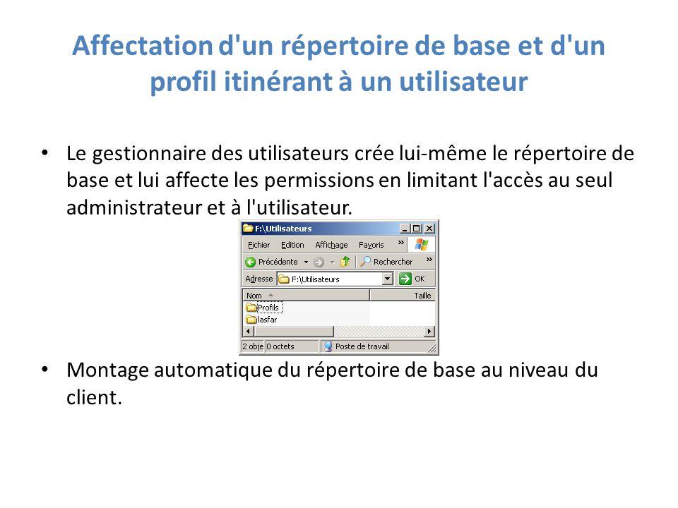 Affectation d un répertoire de base et d un profil itinérant à un utilisateur Le gestionnaire des utilisateurs crée lui-même le répertoire de base et lui affecte les permissions en limitant l accès au seul administrateur et à l utilisateur.