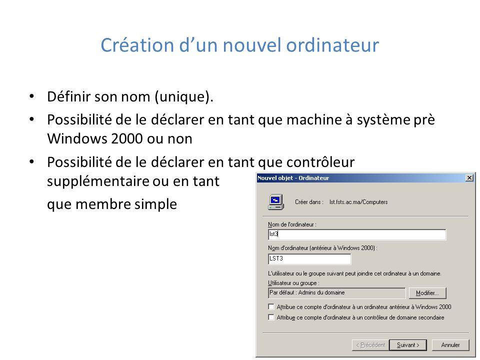Création d'un nouvel ordinateur Définir son nom (unique).