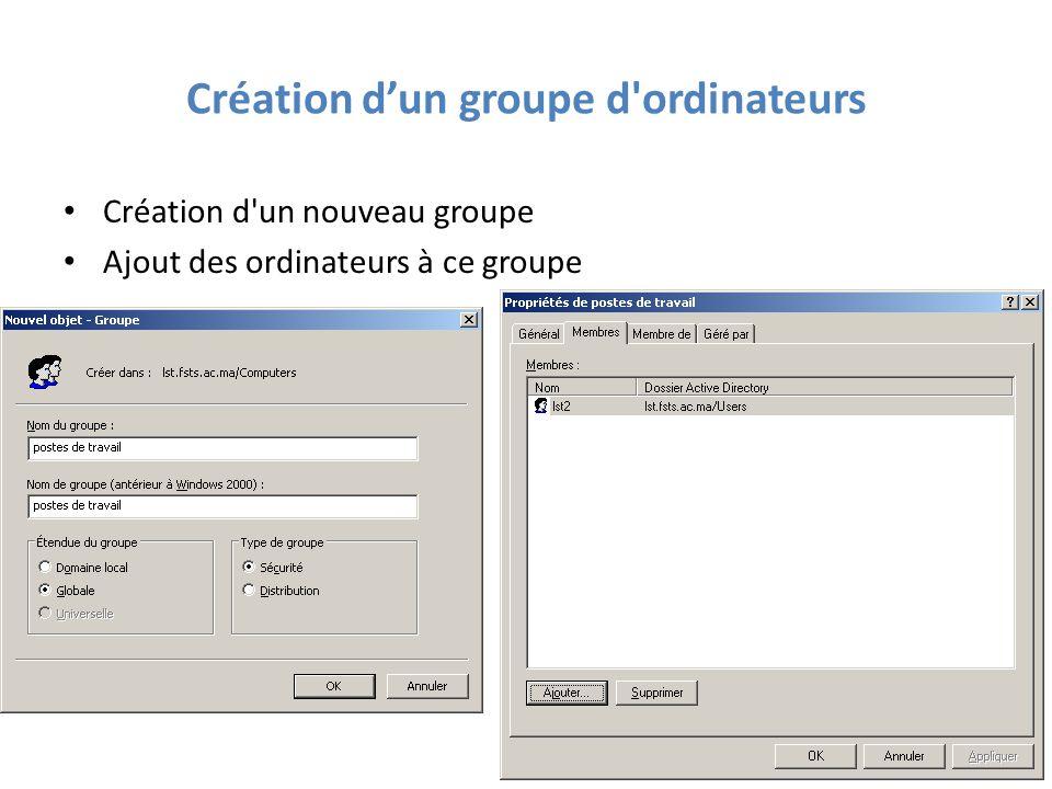 Création d'un groupe d ordinateurs Création d un nouveau groupe Ajout des ordinateurs à ce groupe