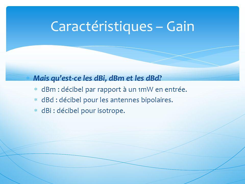  Mais qu'est-ce les dBi, dBm et les dBd?  dBm : décibel par rapport à un 1mW en entrée.  dBd : décibel pour les antennes bipolaires.  dBi : décibe