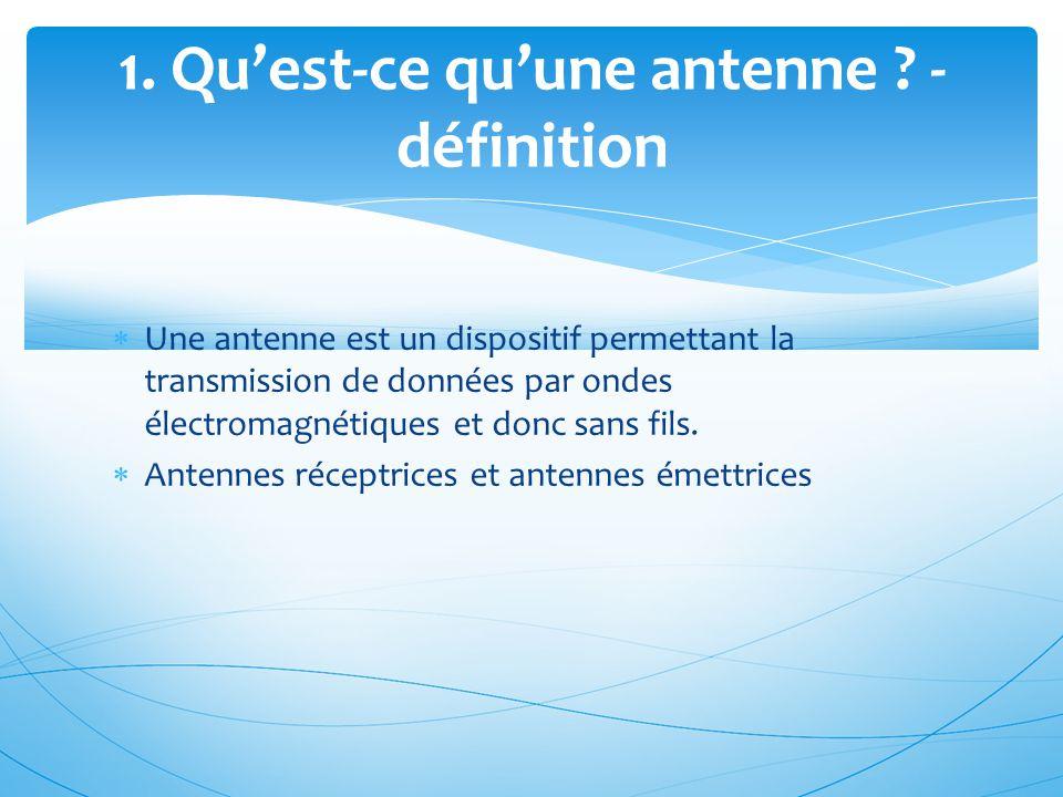  Une antenne est un dispositif permettant la transmission de données par ondes électromagnétiques et donc sans fils.  Antennes réceptrices et antenn