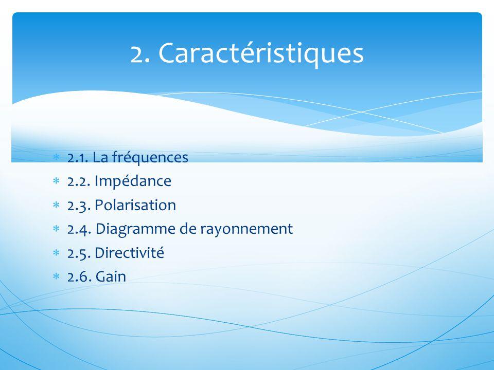  2.1. La fréquences  2.2. Impédance  2.3. Polarisation  2.4. Diagramme de rayonnement  2.5. Directivité  2.6. Gain 2. Caractéristiques