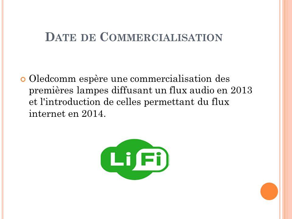 D ATE DE C OMMERCIALISATION Oledcomm espère une commercialisation des premières lampes diffusant un flux audio en 2013 et l introduction de celles permettant du flux internet en 2014.