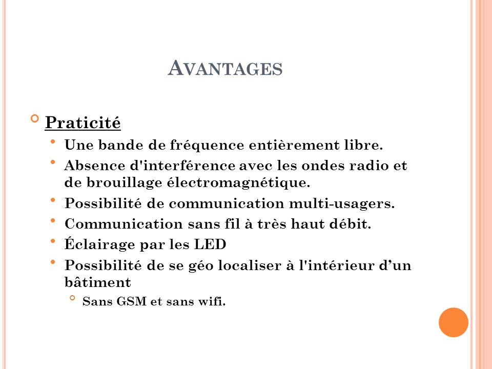 A VANTAGES Praticité Une bande de fréquence entièrement libre. Absence d'interférence avec les ondes radio et de brouillage électromagnétique. Possibi