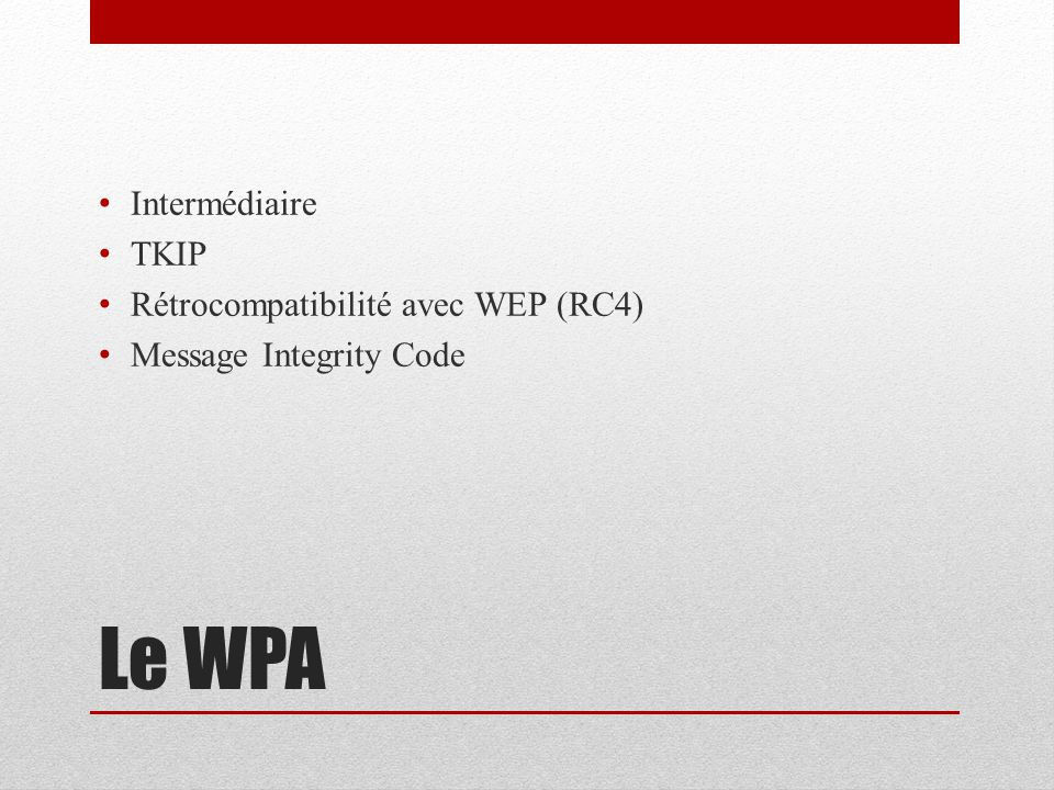 WPA2 Norme 802.11i CCMP (AES)