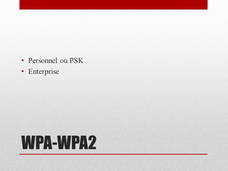 WPA-WPA2 Personnel ou PSK Enterprise