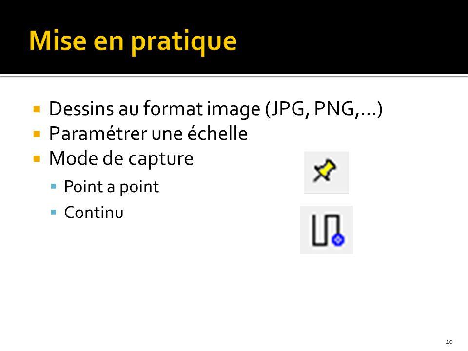  Dessins au format image (JPG, PNG,…)  Paramétrer une échelle  Mode de capture  Point a point  Continu 10
