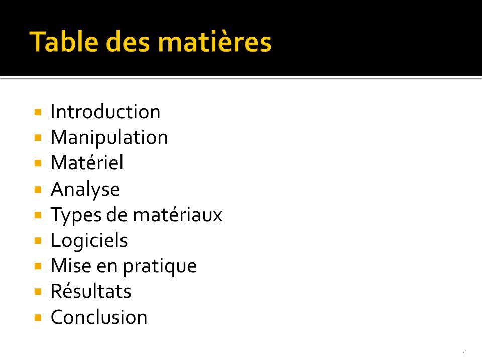  Introduction  Manipulation  Matériel  Analyse  Types de matériaux  Logiciels  Mise en pratique  Résultats  Conclusion 2