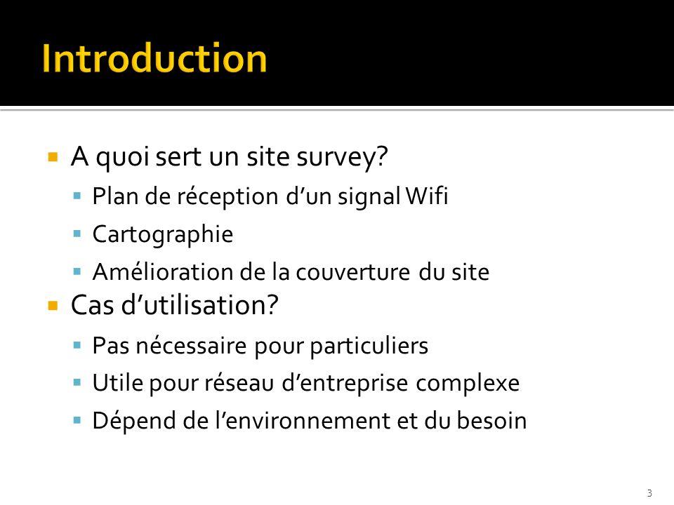  A quoi sert un site survey?  Plan de réception d'un signal Wifi  Cartographie  Amélioration de la couverture du site  Cas d'utilisation?  Pas n