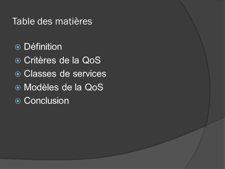 Table des matières  Définition  Critères de la QoS  Classes de services  Modèles de la QoS  Conclusion