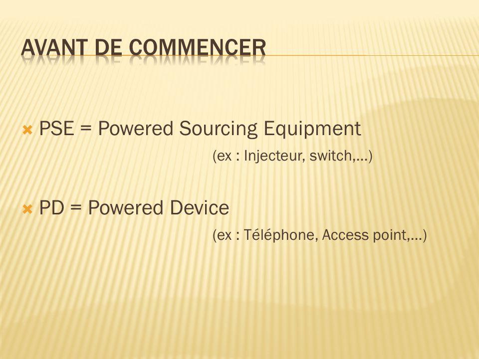  20007w, « Inline Power »  200315w, PoE norme IEEE 802.3af  200730w, pré-PoE+  200930w, PoE+ norme IEEE 802.3at  201160w, Cisco UPoE (bientôt IEEE ?)