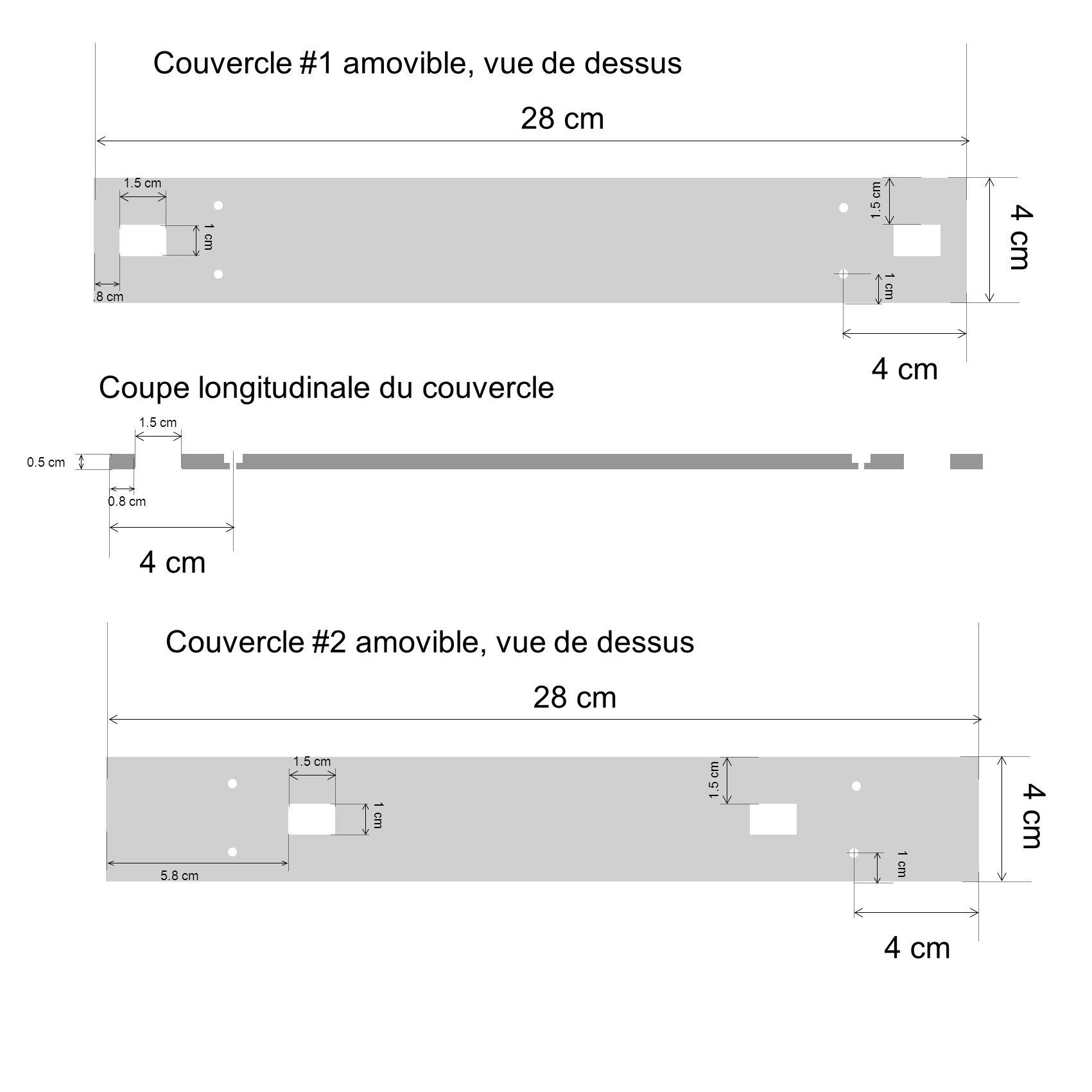 1.5 cm 1 cm.8 cm 28 cm 4 cm 1 cm 4 cm 0.8 cm 1.5 cm 0.5 cm Couvercle #1 amovible, vue de dessus Coupe longitudinale du couvercle 1.5 cm 1 cm 5.8 cm 28