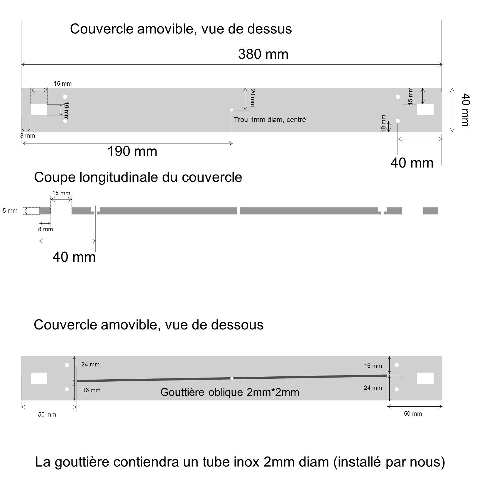 15 mm 10 mm 8 mm 380 mm 40 mm 8 mm 15 mm Couvercle amovible, vue de dessus Coupe longitudinale du couvercle 40 mm 15 mm 10 mm 5 mm 20 mm 190 mm Trou 1