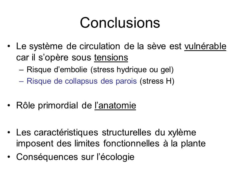 Conclusions Le système de circulation de la sève est vulnérable car il s'opère sous tensions –Risque d'embolie (stress hydrique ou gel) –Risque de col