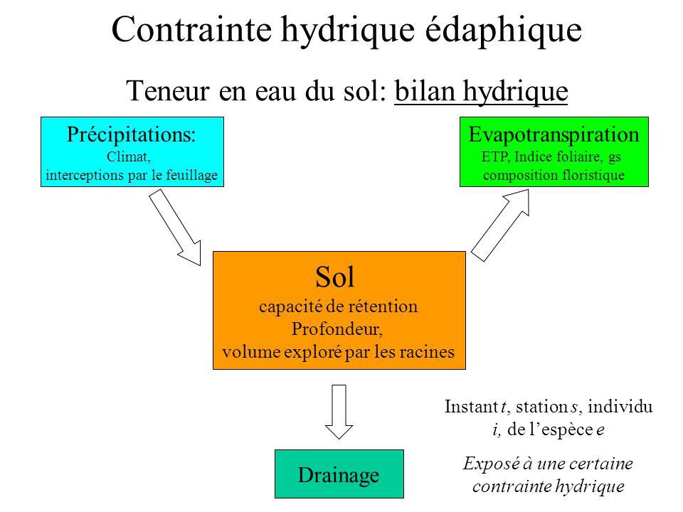 Contrainte hydrique édaphique Teneur en eau du sol: bilan hydrique Sol capacité de rétention Profondeur, volume exploré par les racines Précipitations