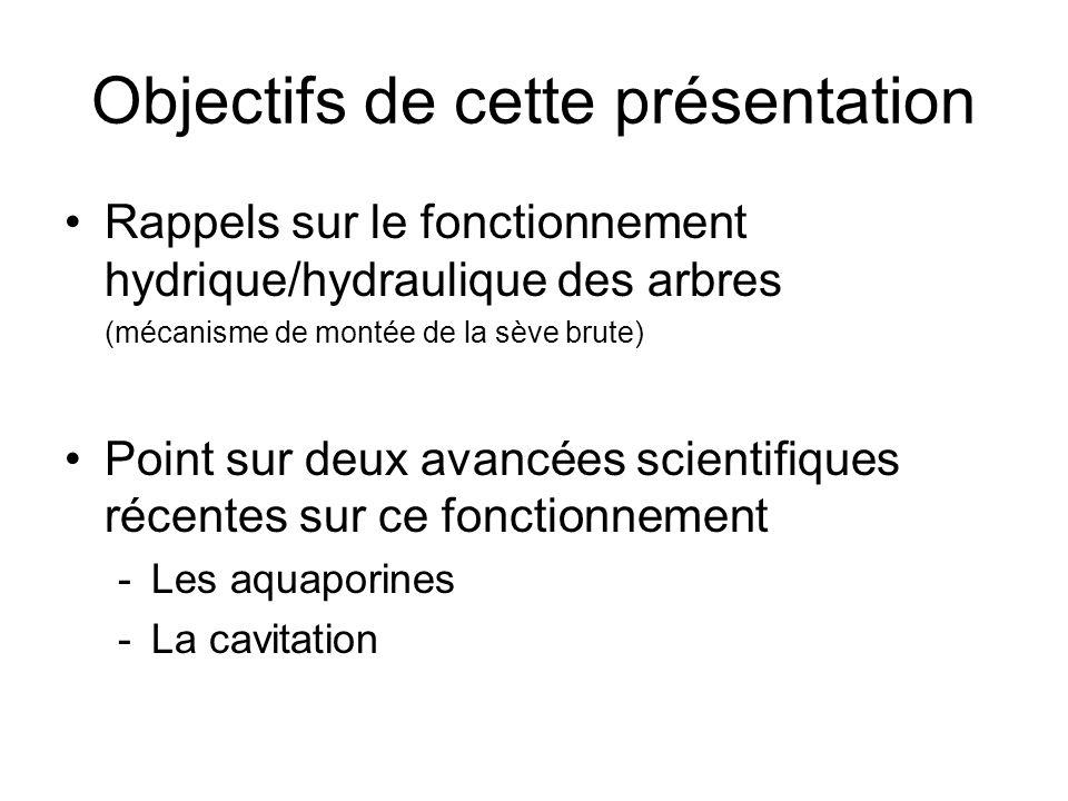 Objectifs de cette présentation Rappels sur le fonctionnement hydrique/hydraulique des arbres (mécanisme de montée de la sève brute) Point sur deux avancées scientifiques récentes sur ce fonctionnement -Les aquaporines -La cavitation