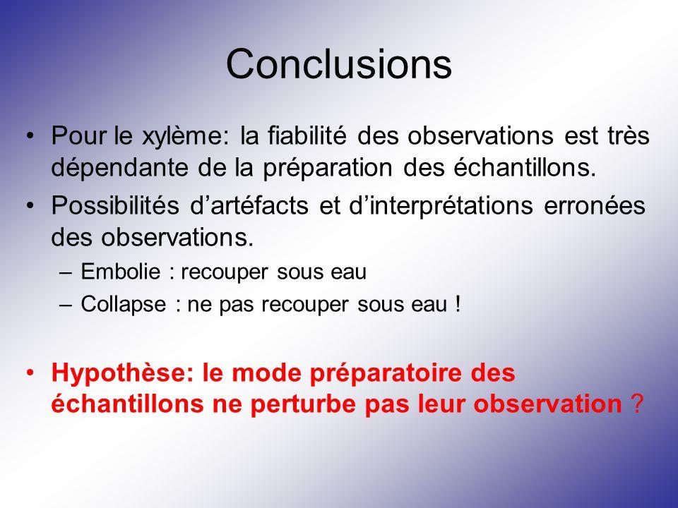 Conclusions Pour le xylème: la fiabilité des observations est très dépendante de la préparation des échantillons. Possibilités d'artéfacts et d'interp