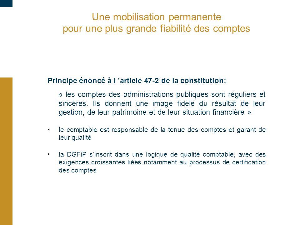 Une mobilisation permanente pour une plus grande fiabilité des comptes Principe énoncé à l 'article 47-2 de la constitution: « les comptes des adminis