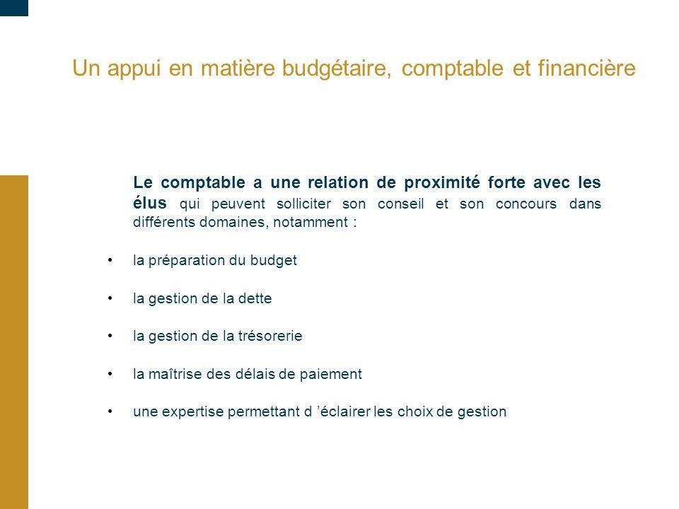 Un appui en matière budgétaire, comptable et financière Le comptable a une relation de proximité forte avec les élus qui peuvent solliciter son consei