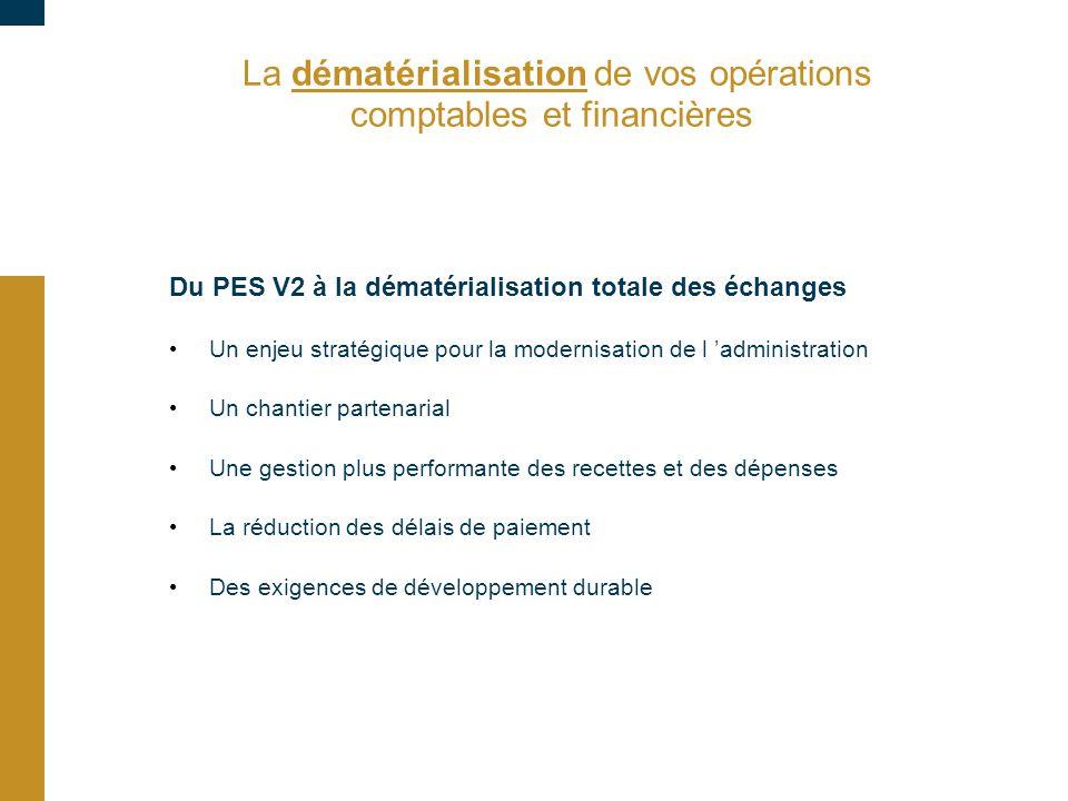 La dématérialisation de vos opérations comptables et financières Du PES V2 à la dématérialisation totale des échanges Un enjeu stratégique pour la mod