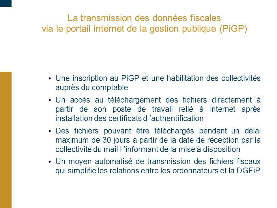 La transmission des données fiscales via le portail internet de la gestion publique (PiGP) Une inscription au PiGP et une habilitation des collectivit