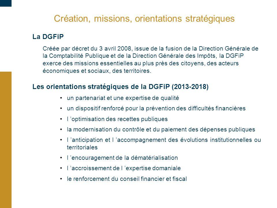 Création, missions, orientations stratégiques La DGFiP Créée par décret du 3 avril 2008, issue de la fusion de la Direction Générale de la Comptabilit