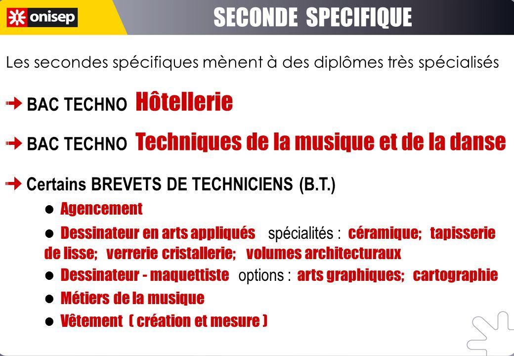 SECONDE SPECIFIQUE BAC TECHNO Hôtellerie BAC TECHNO Techniques de la musique et de la danse Certains BREVETS DE TECHNICIENS (B.T.) Agencement Dessinat
