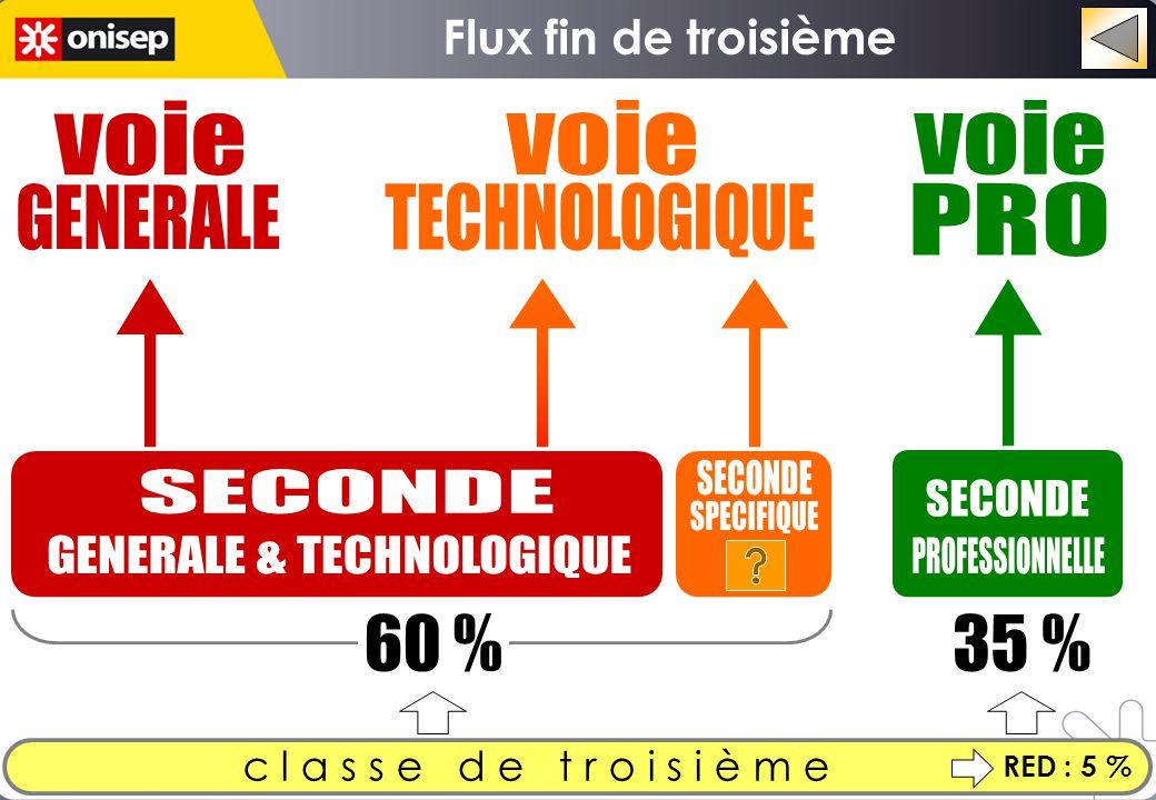 c l a s s e d e t r o i s i è m e 60 %35 % RED : 5 % Flux fin de troisième