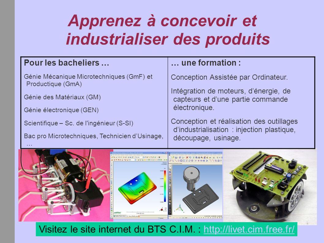 Apprenez à concevoir et industrialiser des produits Visitez le site internet du BTS C.I.M. : http://livet.cim.free.fr/http://livet.cim.free.fr/ Pour l