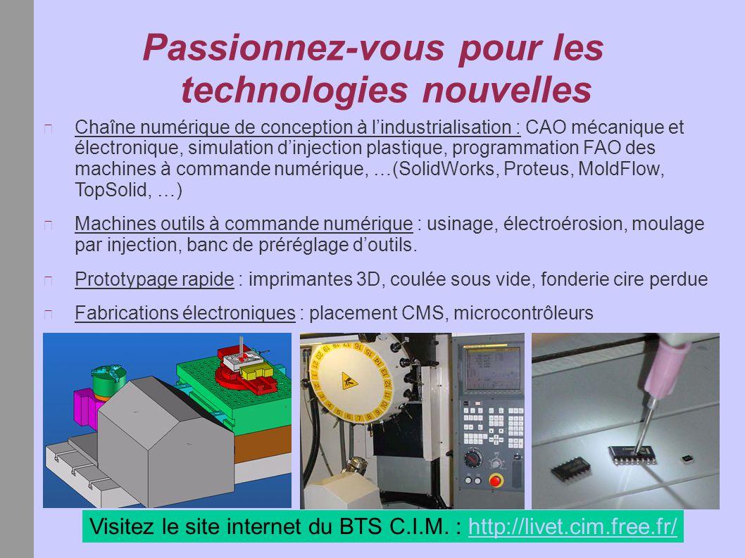 Passionnez-vous pour les technologies nouvelles Chaîne numérique de conception à l'industrialisation : CAO mécanique et électronique, simulation d'inj