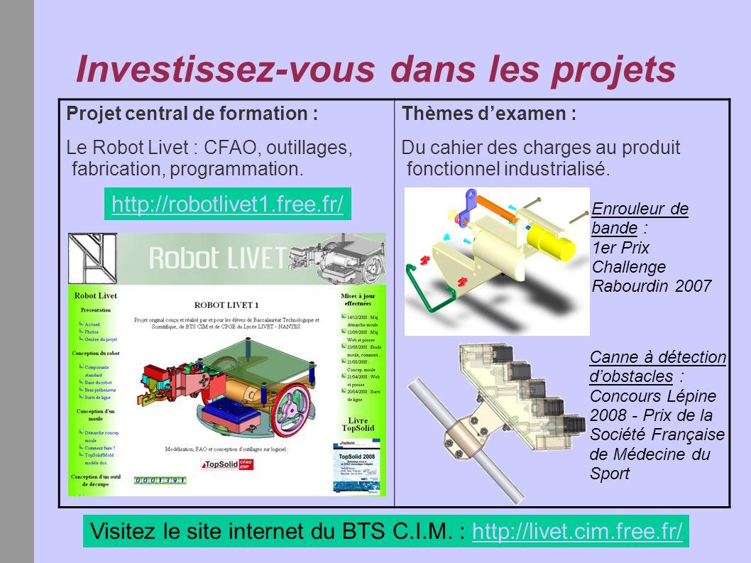 Investissez-vous dans les projets http://robotlivet1.free.fr/ Visitez le site internet du BTS C.I.M. : http://livet.cim.free.fr/http://livet.cim.free.